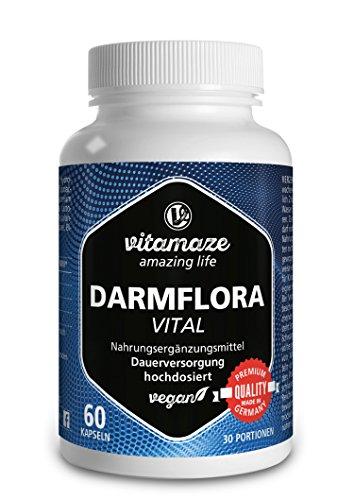 Darmflora Kapseln VITAL Probiotikum Komplex mit 12 aktiven Kulturen und 16,2 Milliarden KBE zur Darmreinigung und Darmsanierung, vegan, 1 Monatskur, Qualitätsprodukt-Made-in-Germany ohne Magnesiumstearat, 30 Tage kostenlose Rücknahme!