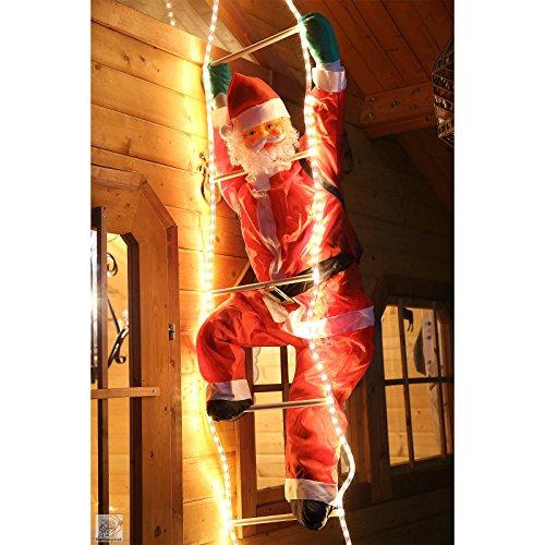 Weihnachtsmann auf Leiter LED beleuchtet