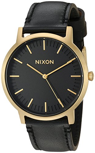 Nixon Men's 'Porter' Quartz Stainless Steel and Leather Casual Watch, Color:Gold-Toned (Model: A1058513)