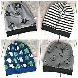 Baby Kinder Beanie Mütze Jungen Elefanten Anker Streifen Sterne KU 34-54 cm handmade Puschel-Design