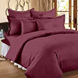 #9: 300 TC Duvet Cover - Double Size - Premium Cotton - Striped Duvet / Quilt / Comforter cover with zipper by Ahmedabad Cotton - 90 x 100 inches - Mauve