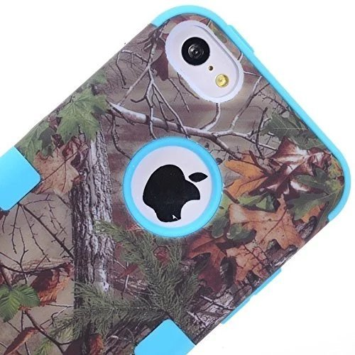 iPhone 5C Coque,Lantier Defender Body Realtree Camo dur Silicon Rubber Rugged Military étui de protection Combo avec Camouflage bois Conception de la couverture pour Apple iPhone 5C [Green Tree Noir] Green Tree Sky Blue