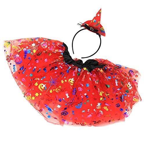 Per Halloween Masquerade Rock Hut Set Tutu & Headwear Träume Halloween Kostüme für Mädchen Kinder(Rot) (123 Halloween Kostüme)