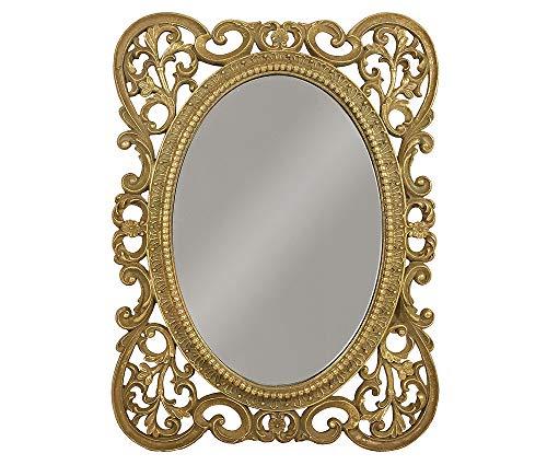 Rokoko-schloss (zeitzone Wandspiegel Nostalgie Barock Gold Spiegel Oval Antik-Stil 39x29cm)
