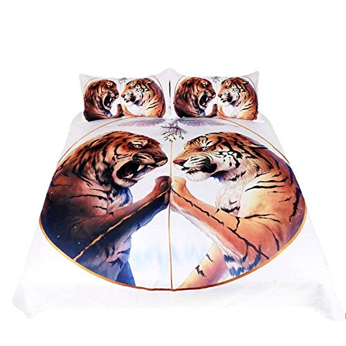 JSDJSUIT Bettwäsche-Set 3 Teile/Satz Zwei Tiger Tröster Bettwäsche Set Bettbezug Set Weiß Bettbezug 3D Gedruckt Quilts Bettwäsche, US König 3 stücke -