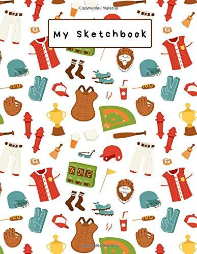 My Sketchbook: Large sketchbook, Baseball Cover, 120 pages, 8.5 by 11
