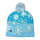 Ahomi LED Weihnachtsmütze Niedlicher Weihnachtsbaum Strickmütze Wintermütze Warme Mütze Dekoration Geschenk blau