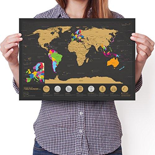 Rubbel Weltkarte A3 (Deutsch) - Personalisiertes Poster um Reisen zu verfolgen - Zeigen Sie Ihre Abenteuer!