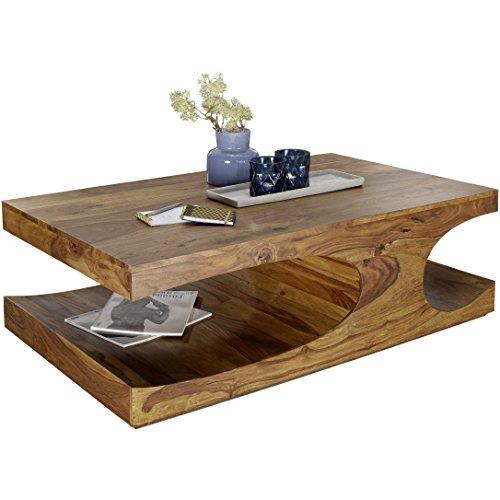 Wohnling Table basse bois de Sheesham massif 118 cm Largeur table de salon design/marron foncé style maison de campagne Table d'appoint naturel Produit de salon meubles unique moderne Massivholzmöbel rectangulaire en bois véritable