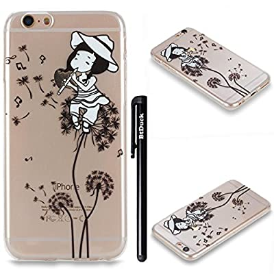 BtDuck Silicone Case for Apple iPhone 6 / 6S 4.7 inch TPU Gel Strict fit Painted pattern Simple and stylish Transparent Cover Shiny Anti-slip Skin Suitable for the party Protection Strict Shockproof Heavy Duty Robust Bumper Case Buffer Shell + 1 * Black S