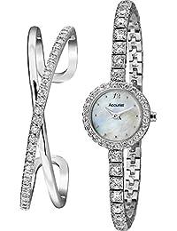 Accurist Ladies Silver Tone Watch & Bracelet Set LB1800