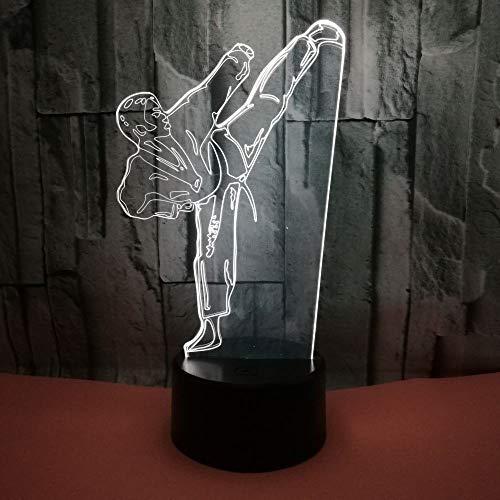 HNXDP Neue Taekwondo 3D Licht Illusion Bunte Touch Visual Stereo Licht Kinder Urlaub Geschenk Nachtlicht A4 Riss Basis + Fernbedienung