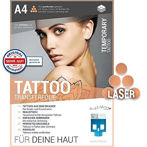 SKULLPAPER Tattoo-Transferfolie FÜR DIE HAUT - zum aufkleben und selbst gestalten - für Laserdrucker (A4-4 Blatt)