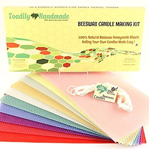 Make Your Own Beeswax Candle Kit - Includes 10 Assorted Colored Full Size 100% Beeswax Honeycomb Sheets and Approx. 6 Yards (18 Feet) of Cotton Wick. Each Beeswax Sheet Measures Approx. 8 x 16 1/4 .