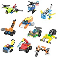 ‏‪Jellydog Toy Mini Building Blocks Vehicles, 10 in 1 Vehicles Building Sets,Party Favors for Kids, Stem Learning Toys, Mini Building Blocks Sets for Goodie Bags, Prize,Cake Topper‬‏