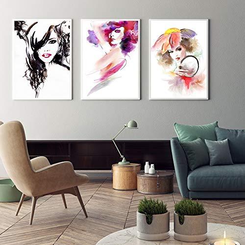 hetingyue Rahmenlose Moderne Bunte Aquarell Schönheit Frauen Leinwand Poster drucken original dekorative Wandkunst Bild von Wohnzimmer Schlafzimmer Kaffee 50x70CM