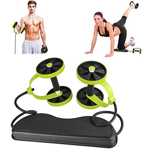 Delicious Fitness Abdominal Wheel Ab Rollers Double-wheel Belly Exercise Arms With Foam Pad And 4-piece Resistance Loop Bands Abdominal Ab Rollers Fitness Equipments