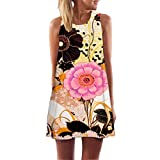UFACE Ärmelloses Damen-Print-Kleid  Boho Frauen Lose Sommer ärmellos 3D Blumendruck Bohe Tank Minikleid (XL, B)
