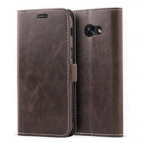 Mulbess Schutzhülle Ledertasche im Kartenfach Bookstyle für Samsung Galaxy A5 2017 Tasche Hülle Leder Etui Schale,Vintage Braun