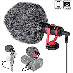 Microphone Stéréo Caméscope, Micro Professionnel pour Vidéo Caméra Caméscope Smartphone, Compatible avec Nikon, Canon, Sony, etc. Parfait pour Vidéaste Interview Streaming Youtubeur Volg.
