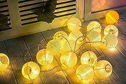 Gresonic 20er LED Lichterkette Lampion/Laternen Deko für Garten Weihnachten Party Hochzeit Innen und Außen mit dem Stecker (Warmweiss, 20LED Netzanschluss)