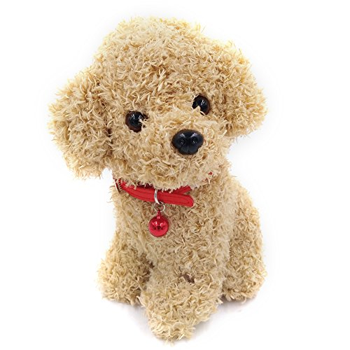 Lazy Puppy 25 CM Small Poodle Pal Dog with Scarf Puppy Plush Toys Stuffed Animal (Brown)