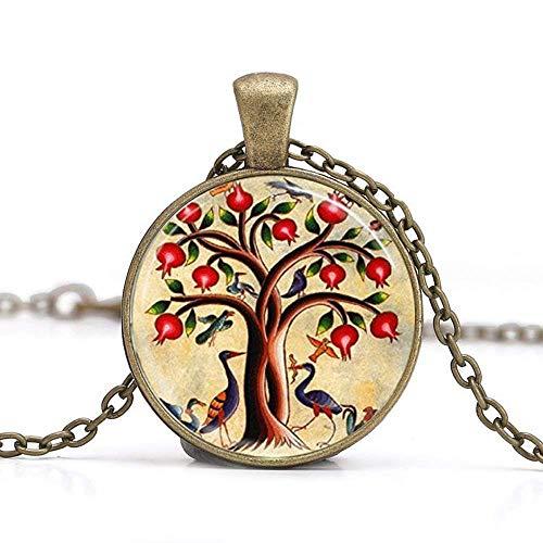 Baum des Lebens Halskette, Vögel und Granatapfel Fruit Tree Nature Art Anhänger -
