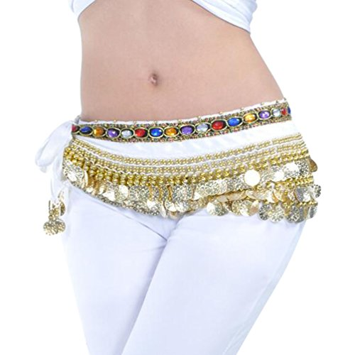 YuanDian Mujer coloreados diamantes Monedas Danza Del Vientre Espectáculo Bufanda Cinturon Cintura Cadena Falda trajes De Belly Dance Blanco