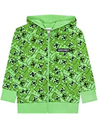 Maglione con Cappuccio per Bambini Minecraft Creeper Green Zip Up Hoodie