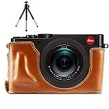 First2savvv XJPT-TYP109-D09G6 Gehäusehälfte präzise Passform PU-Leder Kameratasche Fall Tasche Cover für Leica D-LUX (Typ 109) mit Mini-Stativ