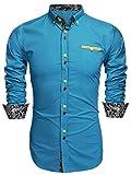 Burlady Hemden Herren Langarm Businesshemden Shirts Baumwolle Bügelfrei Slim Fit - L , hellblau