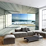 murando - Fototapete Meer Fenster 250x175 cm - Vlies Tapete - Moderne Wanddeko - Design Tapete - Wandtapete - Wand Dekoration - Meer See Natur Landschaft Fenster 3D Holz c-A-0084-a-c