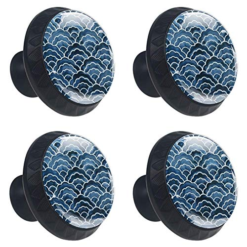 4 Pieces Set Cabinets Hardware Round Furniture Knobs Japanese Style Wave Pattern Print,Drawer Dresser Cupboard Wardrobe Pulls Handles for Home Kitchen - Style 4 Drawer Dresser