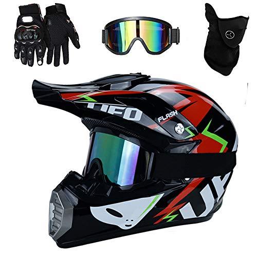 PKFG® Serie Mopedhelm Motocross Helm, HL-620 Motorradhelm 4 Set Herren Damen Fullface Motorrad Bergab Cross Offroad Enduro Mountainbike MX Helme mit Visier Brille Handschuhe Maske,RedBlackL