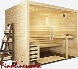 Finnline Massivholzsauna Family View I 196 x 196 x 200 cm mit Glasfront I 45 mm massiv I 4-Eck I Inkl. Saunaofen & Steuerung I Inkl. Lieferung I Saunakabine I Saunaanlage I Saunabau I Saunazubehör