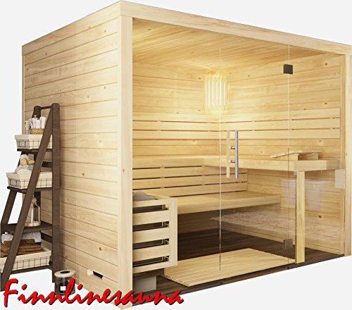 Finnline Massivholzsauna Family View I 220 x 220 x 200 cm mit Glasfront I 45 mm massiv I 4-Eck I Inkl. Saunaofen & Steuerung I Inkl. Lieferung I Saunakabine I Saunaanlage I Saunabau I Saunazubehör