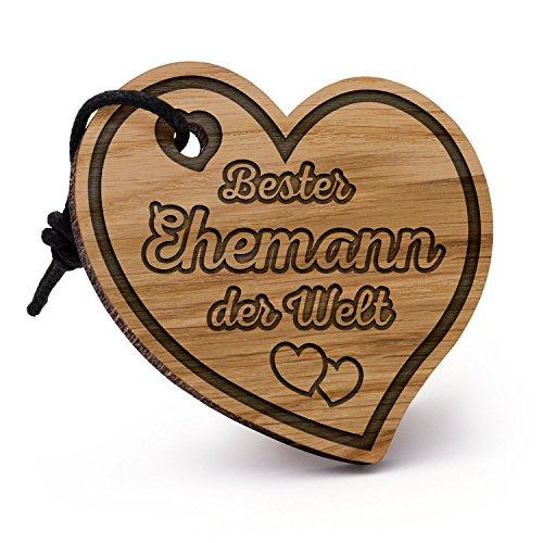 Fashionalarm Schlüsselanhänger Herz Bester Ehemann der Welt aus Holz mit Gravur | Geschenk Idee Paare Hochzeit Jahrestag Valentinstag Geburtstag (Lustige Jahrestags-geschenke)