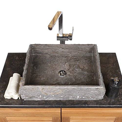 Preisvergleich Produktbild Wohnfreuden Naturstein Marmor Aufsatz-Waschbecken Steinwaschbecken Waschschale Handwaschbecken eckig 50 cm grau