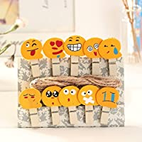 Generic Hot sale 10pcs/bag Mini Cute Emoji Wooden Peg Pin Clothespin Craft Clips for Emoticon Pegs Photo Paper clip With Hemp Rope D3
