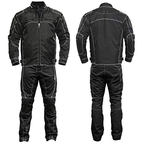 Germanwear 2-teiler Motorradkombi Cordura Textilien Motorradjacke & Motorradhose Schwarz, Größe:56 -