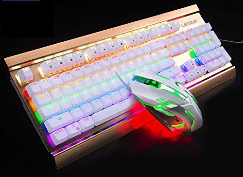 Mechanische Tastatur Maus Set Grüne Achse Schwarz Axis Verdrahtet Computer Spiel Maus Und Tastatur Anzug, Weiß (Grüne Achse) (6-tasten-anzug)