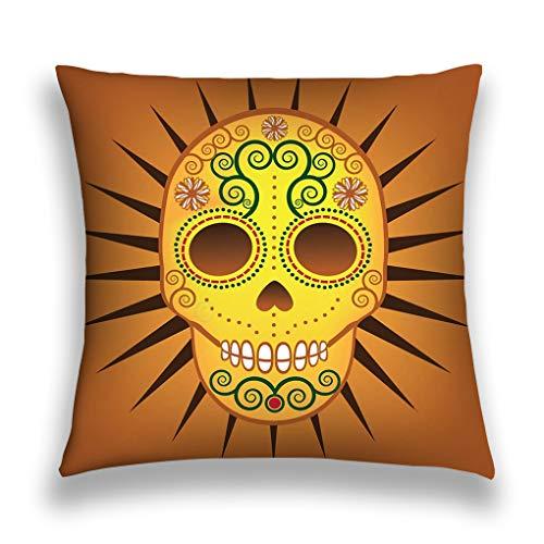 Pillow Case Cushion Cover Home Sofa Decorative 18 X 18 Inch Mexican Day Dead Sugar Skull Football badgeneps ()