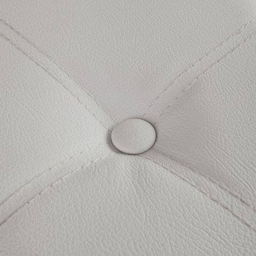SoBuy Sitzkasten, Sitzbank, Sitztruhe, Ottomane, Sitzelement, Wäschekorb, Lederoptik, zusammenfaltbar, FSS16-EL-W (Weiß, 110cm) -