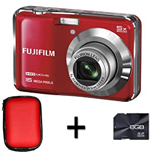 Fujifilm FinePix AX650 Red + 8GB Memory Card and Case (16MP, 5x Optical Zoom) 2.7 inch LCD