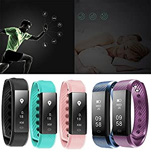 Overdose Smart Bracelet Heart Rate Monitor Fitness Tracker Activity Tracker Bluetooth Pedometer with Sleep Monitor Smartwatch for Android and iOS Smartphones