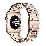 Fintie Correa para Apple Watch 44mm/42mm - Pulsera de Repuesto Sólido de Acero Inoxidable para Apple Watch Serie 4 3 2 1 Todos los Modelos, Oro Rosa