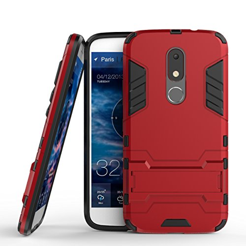 G4 Play Hülle,EVERGREENBUYING Abnehmbare Hybrid Schein Moto G Play 4th Generation Tasche Ultra-dünne Schutzhülle Case Cover mit Ständer Etui für Motorola Moto G Play (4th Gen.) Silber Rot