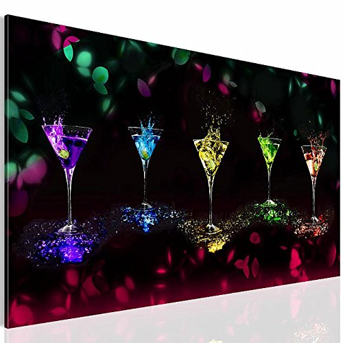 Bilder Martini Gläser Wandbild 70 x 40 cm Vlies - Leinwand Bild XXL Format Wandbilder Wohnzimmer Wohnung Deko Kunstdrucke Bunt 1 Teilig -100% MADE IN GERMANY - Fertig zum Aufhängen 5008137a