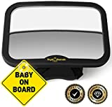 ROYAL RASCALS Baby Car Mirror for Back Seat - Black Frame - Safest Shatterproof Baby Mirror for Car - Rear View Baby Car Seat Mirror to See Rear Facing Infants and Babies