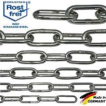 Cadena de acero inoxidable de V4A larga remachadora de NietFullThings en muchas longitudes y fortalecer en un pieza ancla de cadena Metro inoxidable niro inox LARGA, Drahtstärke: 3 mm